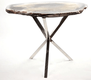 "Agate Side Table #244B W/Polished Stainless Steel Base { 28 x 23.5 x 22.5"" tall }"