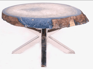 Agate Table #162 With Polished Stainless Steel Base