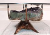 "Amethyst Geode table #28 Hand Forged Base 36""x 36 x 18"" Tall (Geode 26""x 24""x 9"" Thick)"