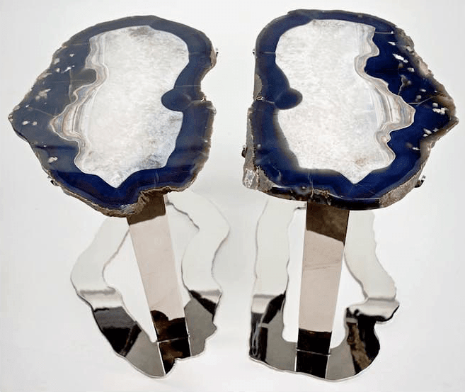 Matching Set of Agate Side Tables #259/260 { 25 x 16 x 22 tall } {Contact For Price}