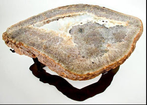 "Quartz Geode Coffee Table #141 { 43.5 x 32 x 18.5"" Tall } With Custom Glass Top (SOLD!)"