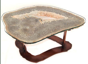 Quartz Geode Coffee Table #143 With Custom Glass Top