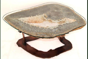 Quartz Geode Coffee Table #143 With Custom Glass Top (Sold!)