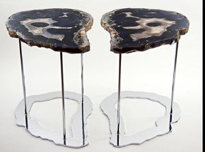 RARE Agate Side Tables Set With Large Crystal Eyes #237/238