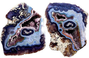 "Split Agate Geode Set #024 Not flat in back! (8.5"" x 11 1/2"" x 3"" Thick each) {Contact for Price"