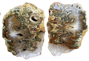 "Split Agate Geode Set #025 Not Flat in Back! (9 1/4"" x 12 1/2"" x 3"" Thick each) {Contact for Price}"