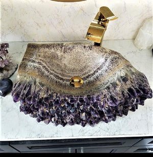 "Amethyst Geode Sink High Grade Amethyst (one-of a-kind) #64 (25.5"" X 16"" X 6"" TALL X 94/LBS ) (SOLD!)"