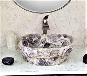 "Amethyst Purple Onyx Sink #022 (22.5"" x 16.5"" x 6.5"" tall x 115/lbs )"