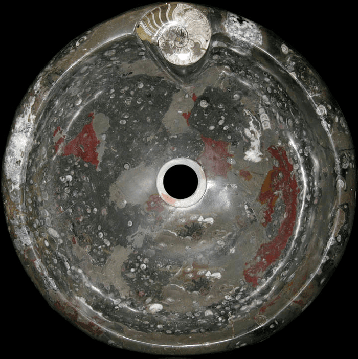 Grey Round Grande Fossil Marble Sink #6M-EH