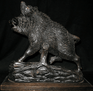 Antique Black Forest Carved Boar