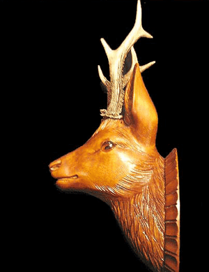 Black Forest Style Roe Deer Head With Real Antlers