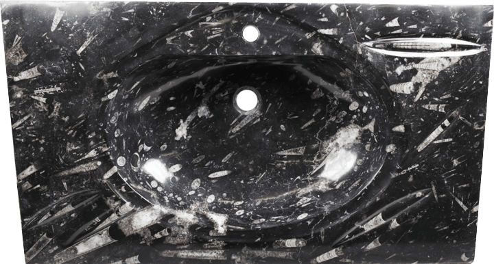 "Black Fossil Marble Vanity Top Sink #1D -EH (36"" x 22"") {Contact For Price}"