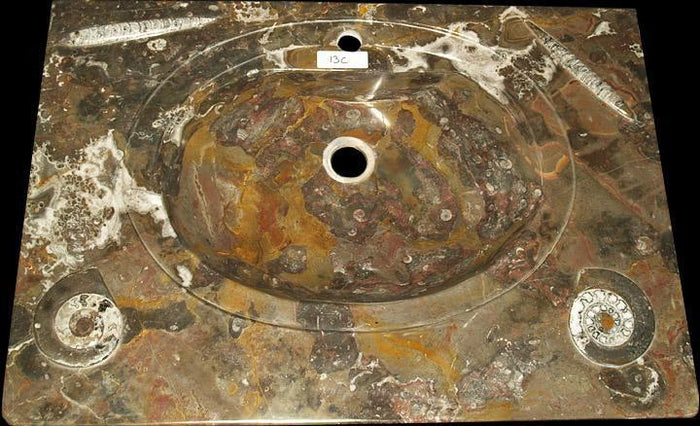 "REd Fossil Agate Vanity Sink #13C (31.5"" wide x 22"" deep  W/ 1 3/4"" Drain Hole  ) {Contact For Price"