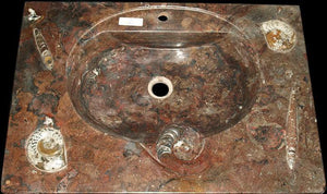 "Red Fossil Marble Sink #2E-EH  (32"" wide x 22"" deep  W/ 1 3/4"" Drain Hole) {Contact For Price}"