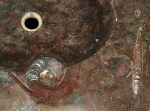 Red Fossil Marble Sink #2E-EH
