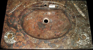 "Red Fossil Marble Sink Vanity #13B (36"" wide x 22.5"" deep   W/ 1 3/4"" Drain Hole ) {Contact For Pric"