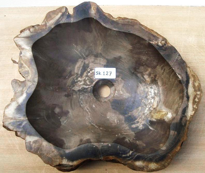 Petrified Wood Sink #127A-EH Petrified Teak