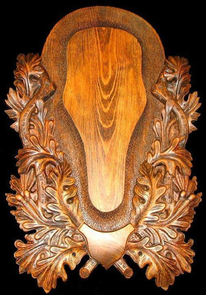 CP-104B1(Stag & Elk European Mount Skull Panel) {HIGHLY ORNATE}