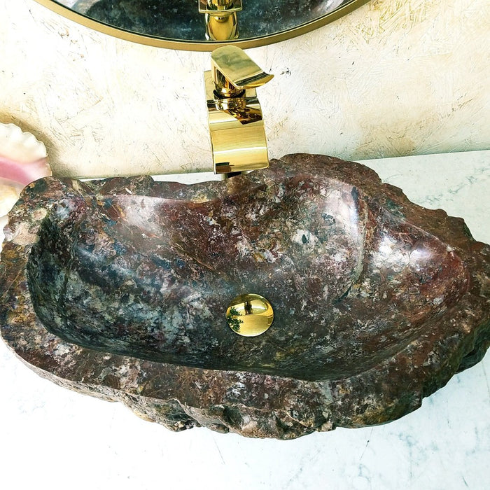 "Blood Jasper Gem Stone Sink With Opal #1A-EH (25"" x 15 1/2"" x 6"" Tall)"
