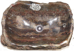 "Natural Stone Sink from Fossil Agate #183-EH (22.5"" x 15"" x 7"" Tall W/ 1 5/8"" Drain) {Free Shipping}"