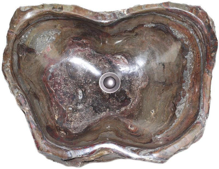 "Natural Stone Sink from Fossil Agate #205-EH (24"" x 18"" x 7"" Tall W/ 1 5/8"" Drain) {Free Shipping}"