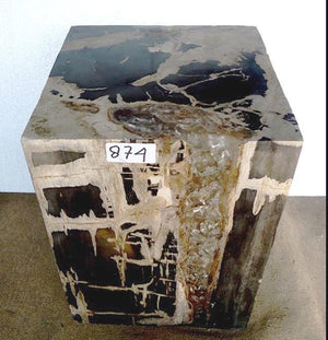 "Petrified Wood Cube with Cracked Crystal Resin #874-EH (14"" x 14"" x 19"" tall)"