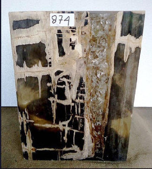 Petrified Wood Cube with Cracked Crystal Resin #874-EH