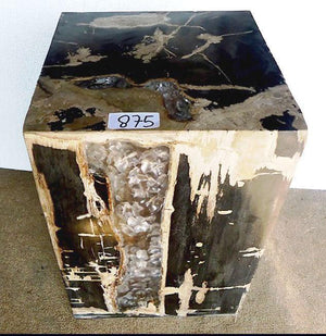 "Petrified Wood Cube with Cracked Crystal Resin #875-EH (14"" x 14"" x 19"" tall)"
