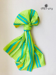 Green and teal stripe scarf