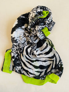 Green and black soft printed scarf