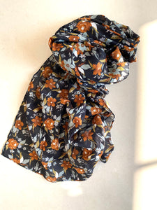 Black earthy tone printed scarf