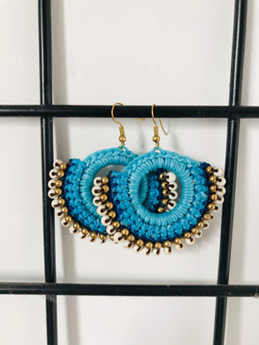 Blue beaded earrings with thread work hook style