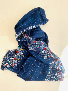 Dark blue printed scarf with floral border