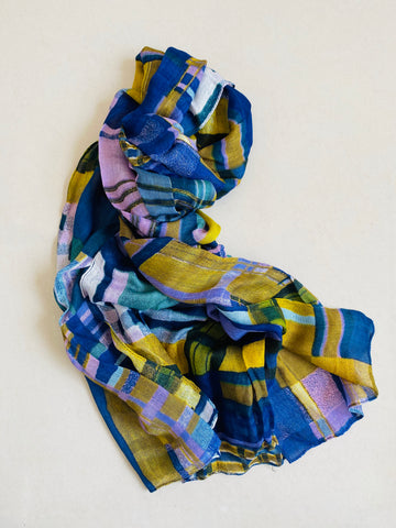 Blue and yellow check scarf