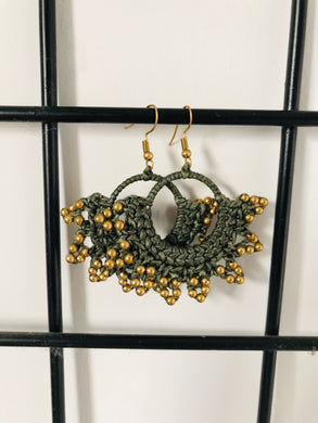 Olive green crochet earrings with tiny beads-hook style