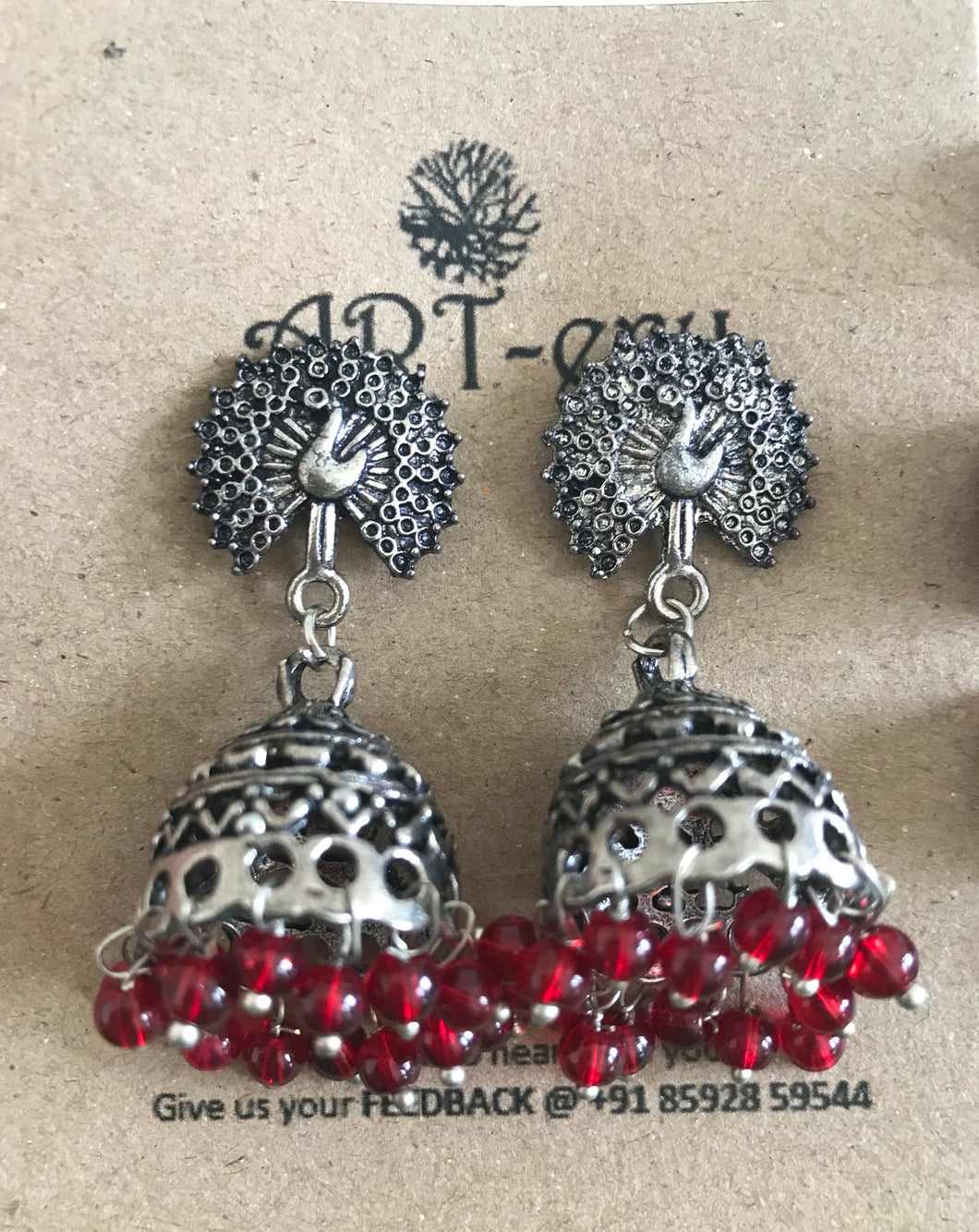 Peacock jhumka earrings with red beads