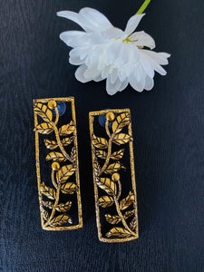 Oxidised gold floral frame abstract earrings