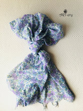 Purple floral printed scarf