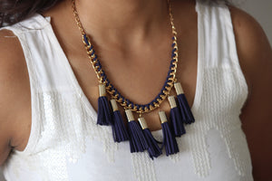 Suede blue thread and gold necklace