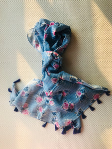 Tasseled scarf in blue and pink