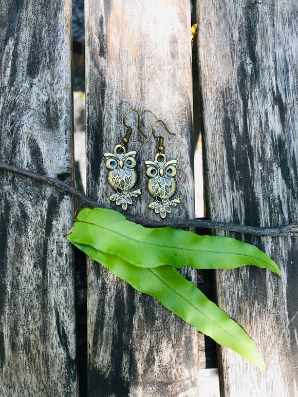 Miniature earrings - little owl