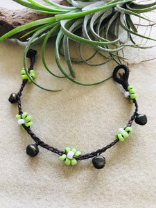 Floral beads bracelet in green beads and ghungroo beads