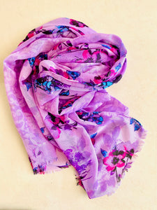 Lavender scarf with unfinished edges
