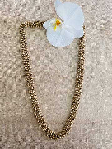 Long double layer wooden beaded necklace