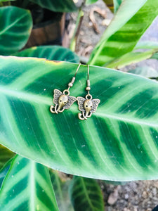 tiny hook earrings with an elephant face