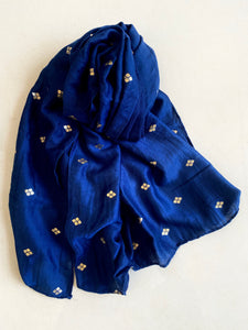 Blue with gold motif scarf