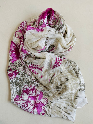 Orchid purple and white printed scarf