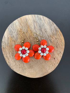 Orange crackle stone floral earrings with red and white beads