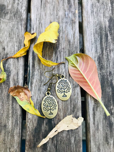 Oval shaped tree of life engraved- hook style light weight earrings