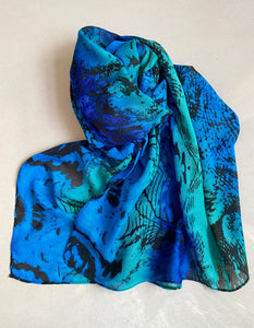 Peacock blue abstract printed scarf